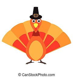 Happy thanksgiving day - Isolated turkey with a traditional...