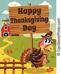 Happy Thanksgiving day pilgrim turkey wooden banner