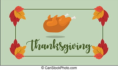 Happy thanksgiving day poster animation style collection