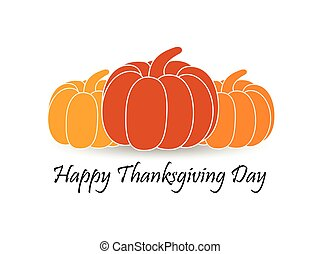 Happy Thanksgiving Day. Pumpkin with shadow on white background. Vector illustration