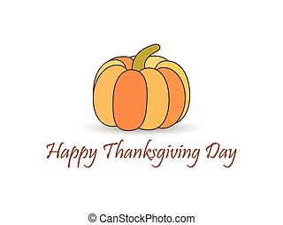 Happy Thanksgiving Day. Pumpkin with shadow isolated on white background. Vector illustration
