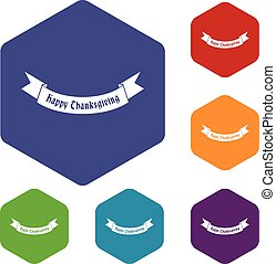 Happy Thanksgiving Day ribbon icons set
