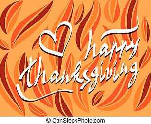 thanksgiving day script hand lettering text