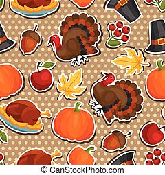 Happy Thanksgiving Day seamless pattern with holiday sticker...