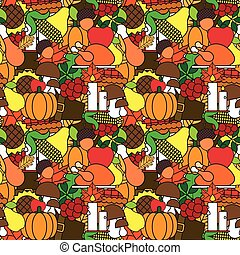 Happy Thanksgiving Day Seamless Pattern With Turkey And Harvest Vegetables Autumn Traditional Holiday Ornament