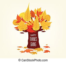 Happy Thanksgiving Day. Vector Illustration of an Autumn leaves Design