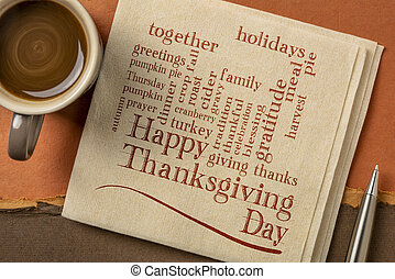Happy Thanksgiving Day - word cloud on a napkin