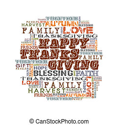 Happy Thanksgiving - Different Words on white background