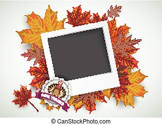 Happy Thanksgiving Emblem Foliage Pic - Emblem with instant...