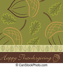 Happy Thanksgiving! - Hand drawn acorn Thanksgiving card in...