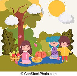 happy thanksgiving family, kids with food on blanket in the park