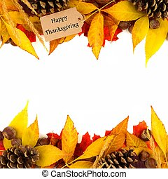 Happy Thanksgiving gift tag with leaf double border over white