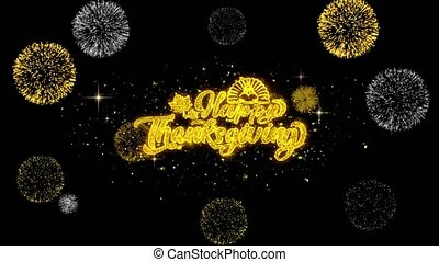 Happy Thanksgiving Golden Text Blinking Particles with...