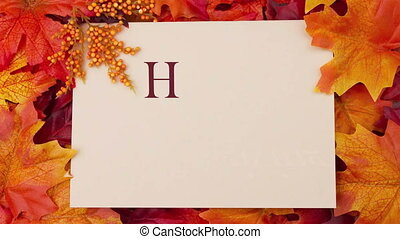 Happy Thanksgiving Greeting Card, Some fall leaves and a...