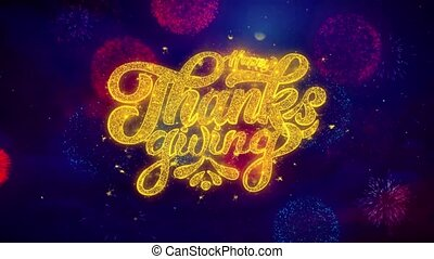 Happy Thanksgiving Greeting Text Sparkle Particles on...