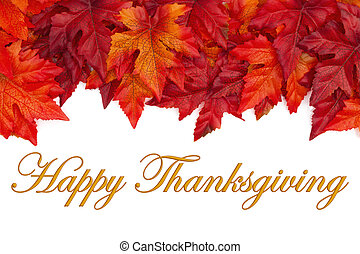 Happy Thanksgiving greeting with red and orange fall leaves