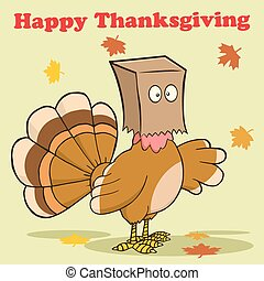 Greeting With Turkey Bird - Happy Thanksgiving Greeting With...