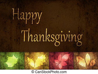 Thanksgiving Greetings, an abstract illustration with grunge autumn leaves.