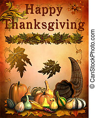 Happy Thanksgiving - Happy thanksgiving card with vegetable...