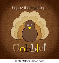 Hiding turkey felt Thanksgiving card in vector format.