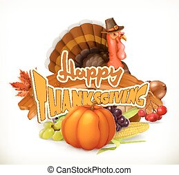 Happy Thanksgiving invitation. Greeting card. 3d vector logo