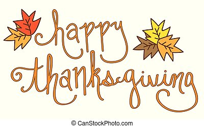 Happy Thanksgiving Lettering and Fall Leaves