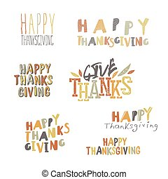 Happy Thanksgiving logotypes set