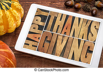 Happy Thanksgiving on tablet