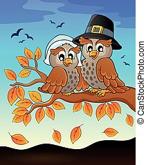 Happy Thanksgiving owls on branch
