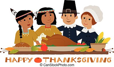 Happy Thanksgiving Pilgrim - Thanksgiving sign with pilgrims...