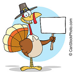 Happy Thanksgiving Pilgrim Turkey - Turkey With Pilgrim Hat...