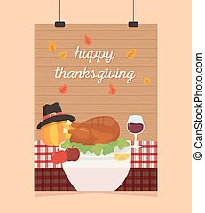 happy thanksgiving poster hanging turkey apple wine pumpkin table
