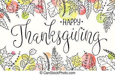 happy thanksgiving poster - Happy thanksgiving day. Hand...