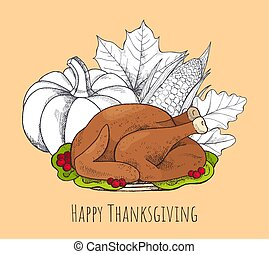 Happy Thanksgiving Poster with Food Set Vector