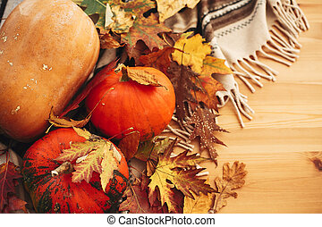 Happy Thanksgiving. Pumpkins with fall leaves on brown blanket on background of wooden table. Hygge lifestyle, cozy autumn mood. `Happy Halloween