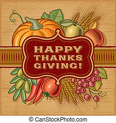 Happy Thanksgiving retro card in woodcut style. EPS10 vector illustration.