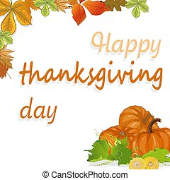Happy Thanksgiving script with pumpkins and leaves vector illustration on white background