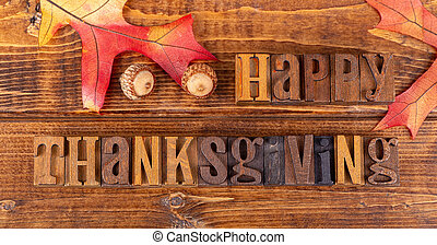 Happy Thanksgiving Sign With Oak Leaf and Acorns