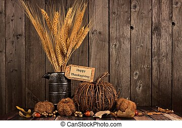 Happy Thanksgiving tag and autumn decor against wood