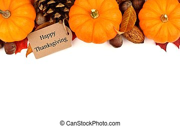 Happy Thanksgiving tag with autumn top border on white