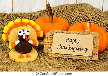 Happy Thanksgiving tag with turkey shaped cookie