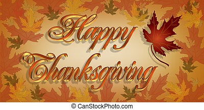 Happy Thanksgiving Text 3D - Illustration composition for...