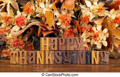 Happy Thanksgiving Text With Colorful Autumn Color Background