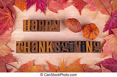 Happy Thanksgiving Text with Colorful Autumn Leaf Border