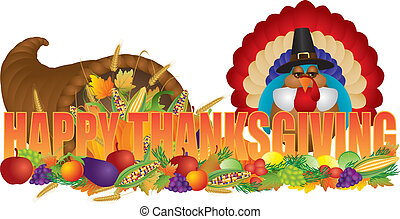 Happy Thanksgiving Text with Cornucopia Pilgrim Turkey -...