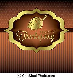 Happy Thanksgiving - Acorn elegant Thanksgiving card in...