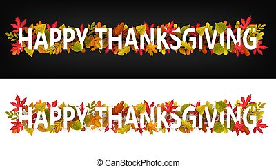 Happy Thanksgiving vector horizontal banners.