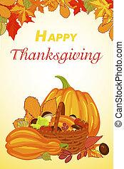 Happy thanksgiving vertical banner, cartoon style