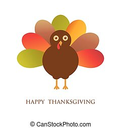 Happy Thanksgiving with turkey, vector card