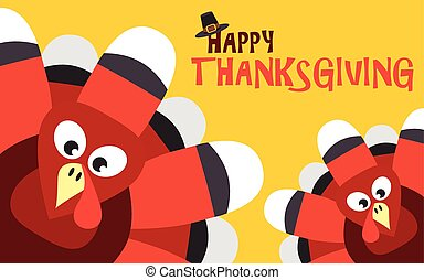 Happy Thanksgiving with turkey vector card